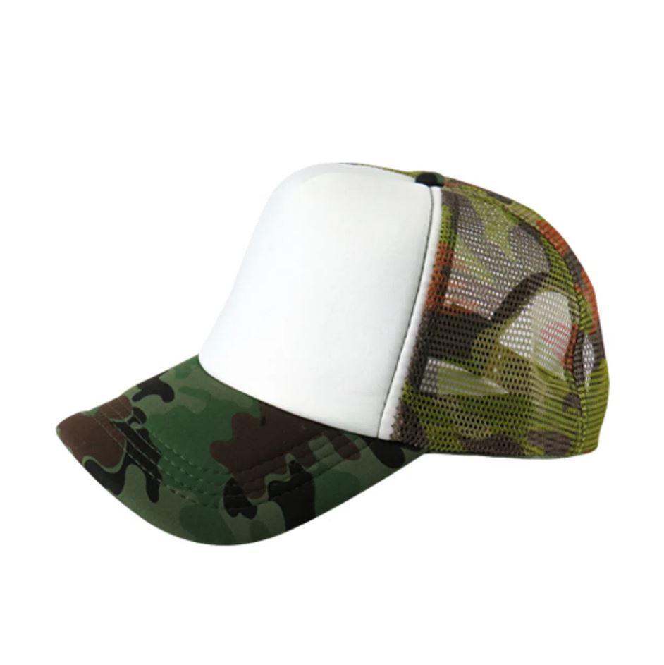 Boné de Tela Camuflado Verde com a Frente Branca Para Sublimação