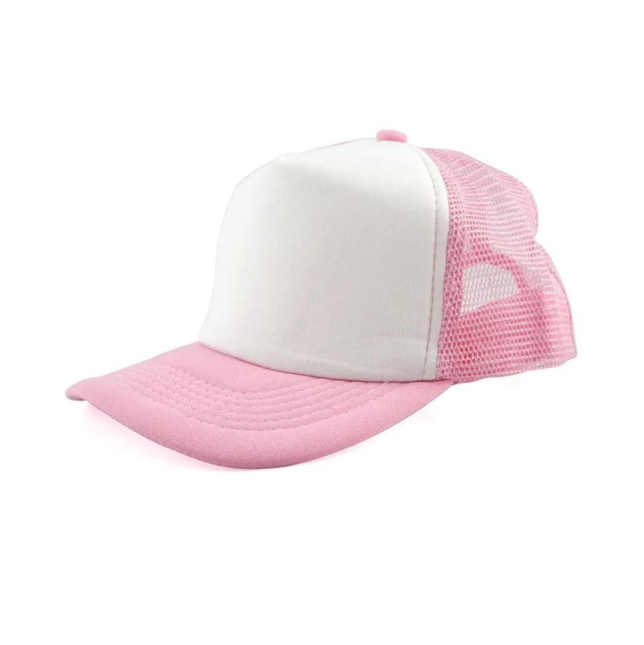 Boné de Tela Rosa com a Frente Branca Para Sublimação - Rosa