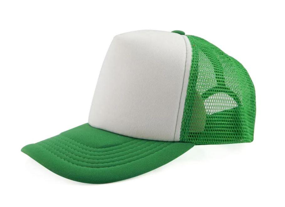 Boné de Tela Verde com a Frente Branca Para Sublimação