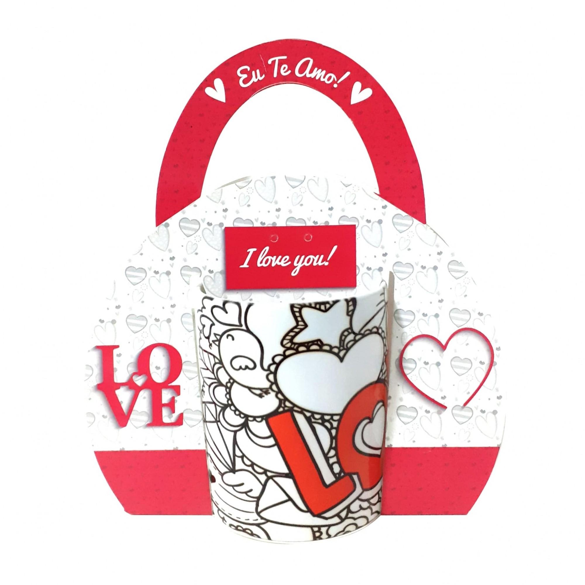 Caixinha de Caneca Tipo Bolsa - Tema Love