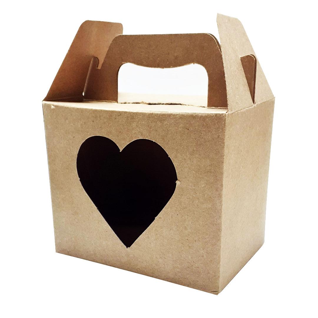 Caixinha de Papelão Para Caneca c/ Alça - Janela de Coração - Kraft - Prokor