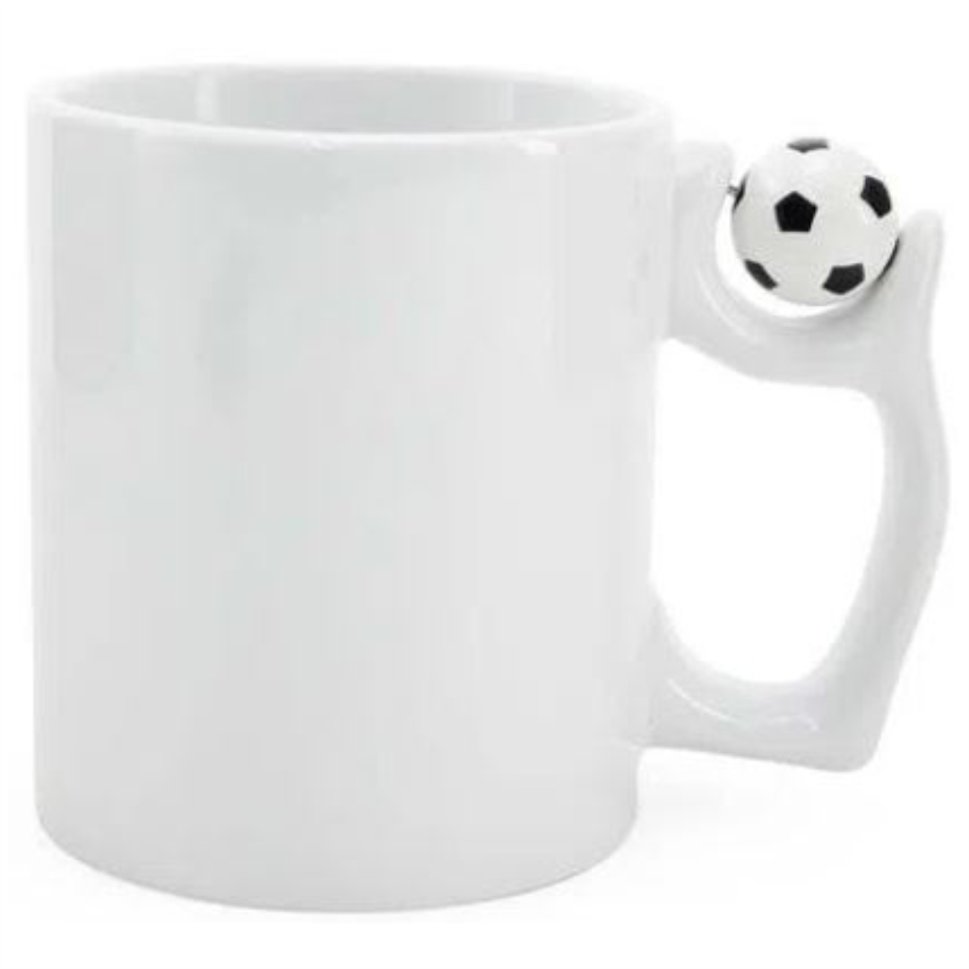 Caneca Branca para Sublimação com Alça Pingente Futebol - 325ml - LiVE SUB