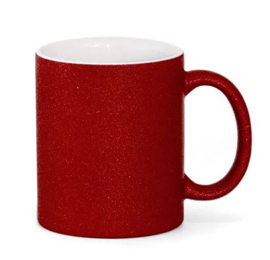 Caneca com Glitter Vermelha de Cerâmica para Sublimação - 325ml - LiVE SUB