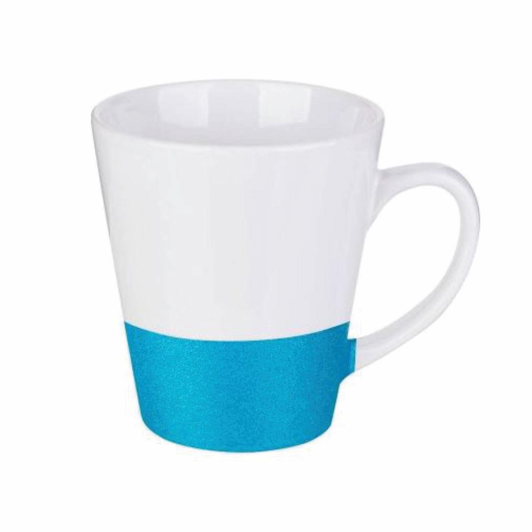 Caneca Cônica de Cerâmica para Sublimação com Base Glitter Azul - 355ml - LiVE SUB