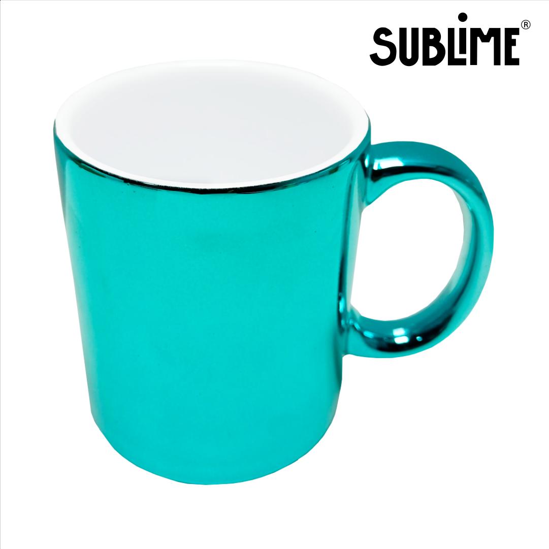 Caneca Cromada Para Sublimação - Azul Tiffany - 300ml - Sublime