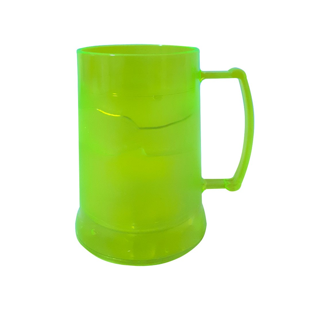 Caneca de Acrilíco c/ Gel - Amarela Neon - 300ml