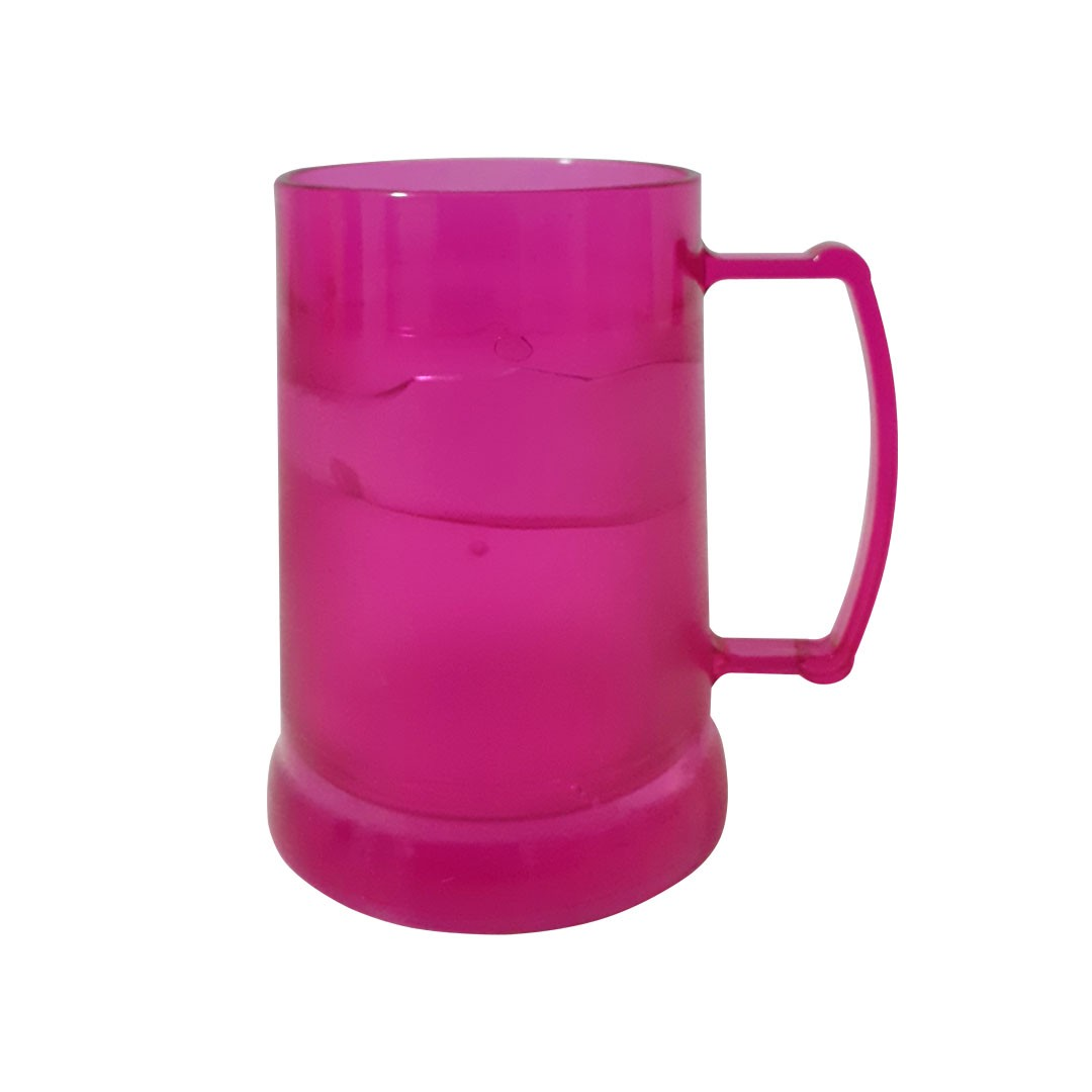 Caneca de Acrilíco c/ Gel - Rosa - 300ml