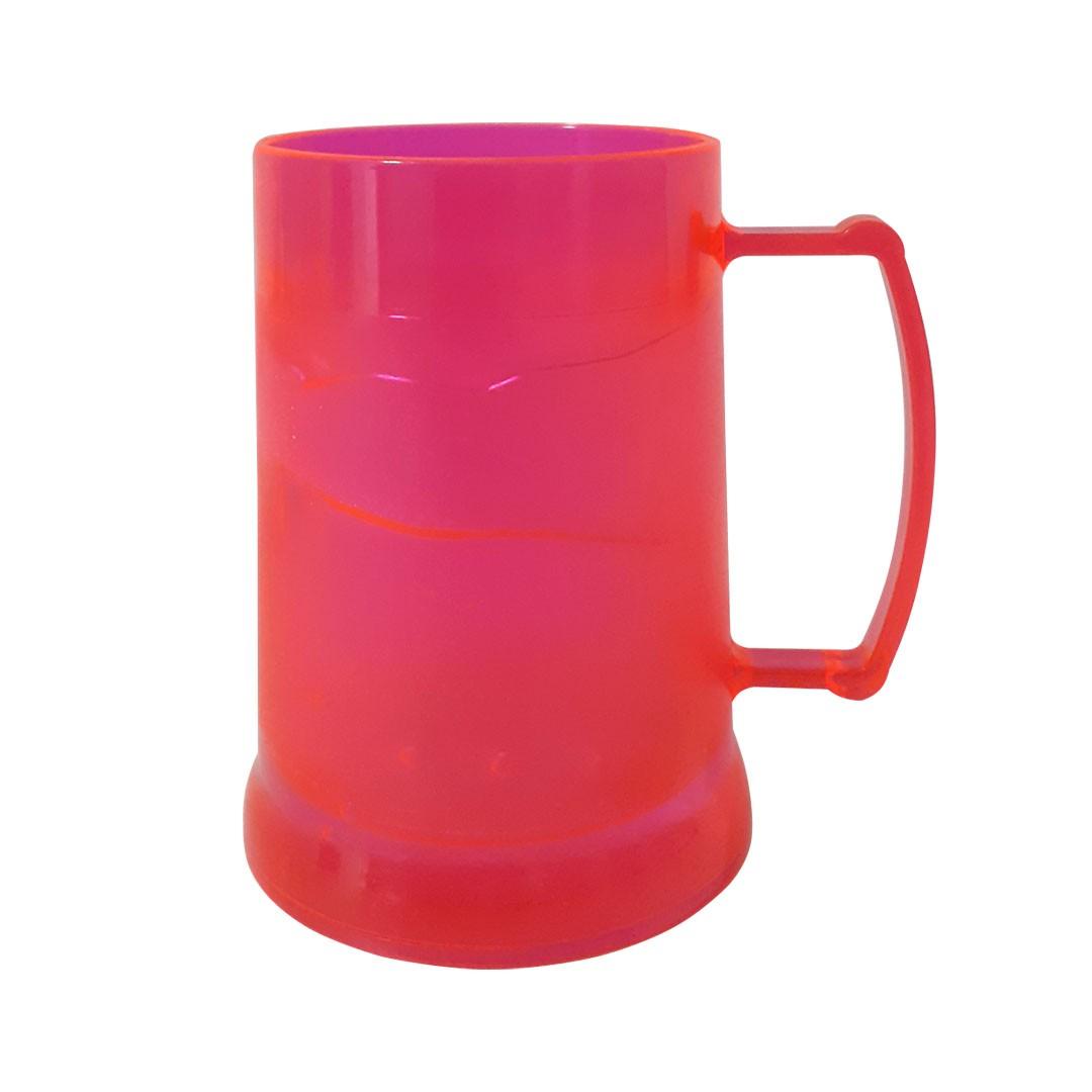 Caneca de Acrilíco c/ Gel - Vermelha Neon - 300ml