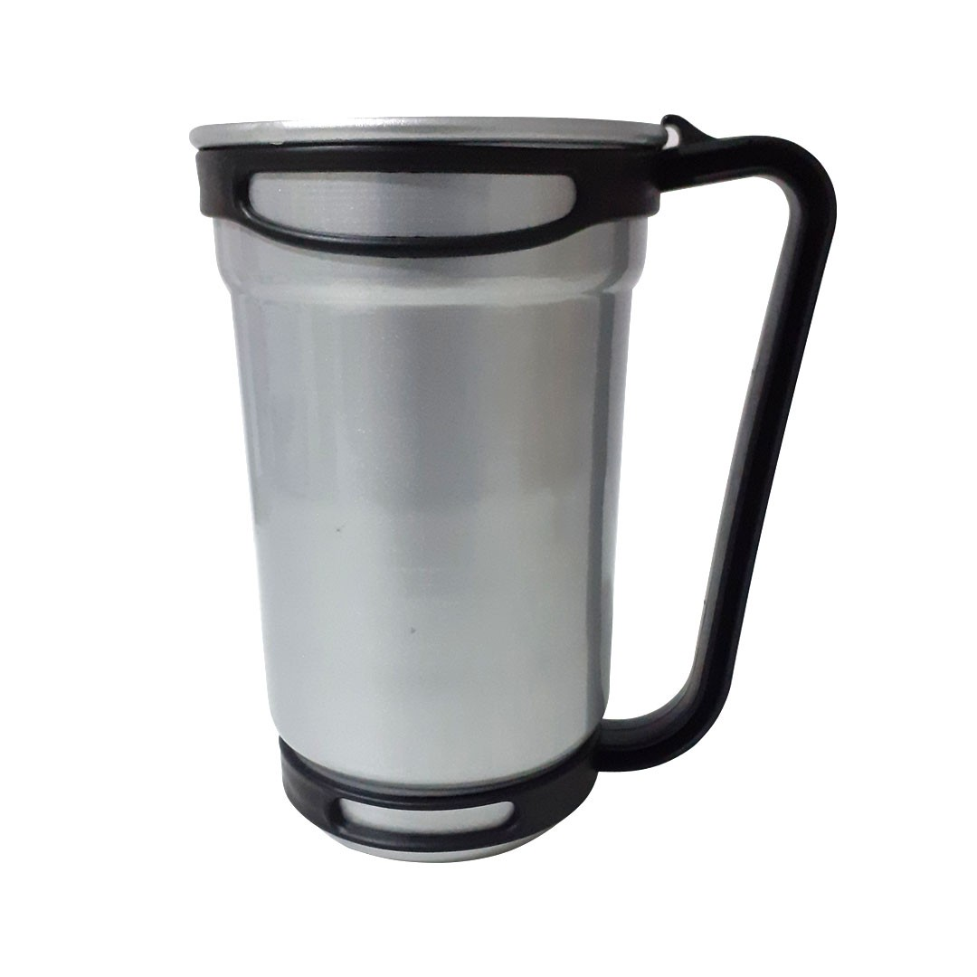 Caneca de Alumínio Para Sublimação c/ Alça de Encaixe - Prata