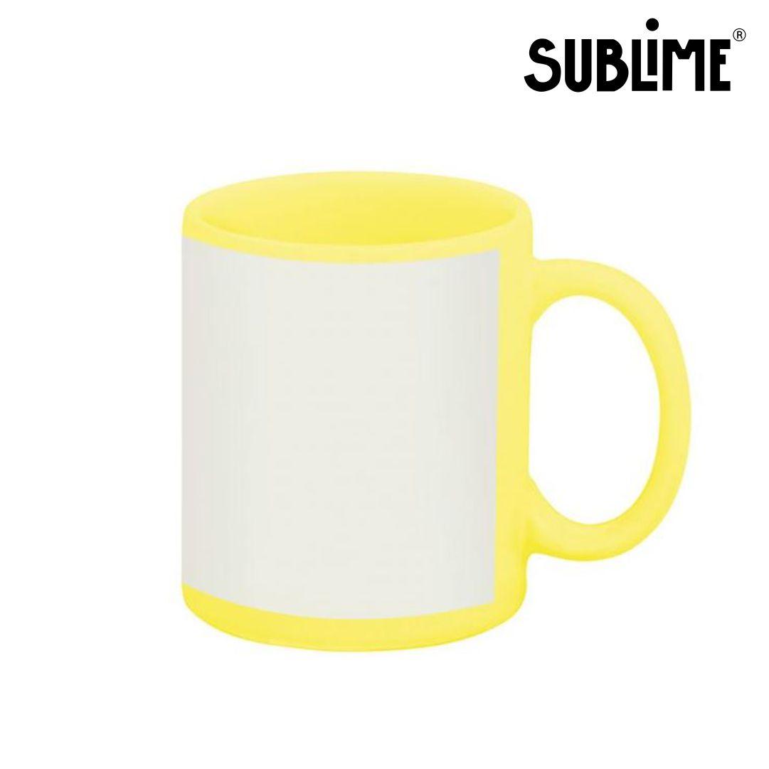Caneca de Cerâmica Amarela com Tarja Branca Para Sublimação - 300ml - Sublime