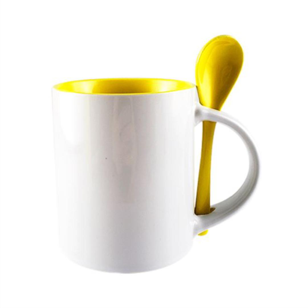Caneca de Cerâmica Branca Para Sublimação Reta com Interior e Colher -  Amarelo  - 325ml - LiVE SUB