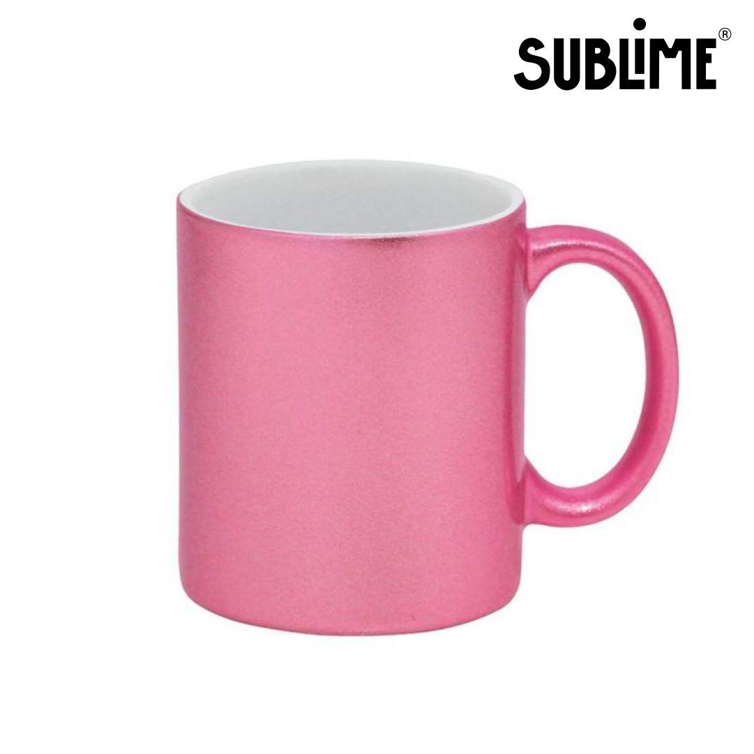 Caneca de Cerâmica Lisa com Glitter Para Sublimação - Rosa Claro - Sublime - 300ml