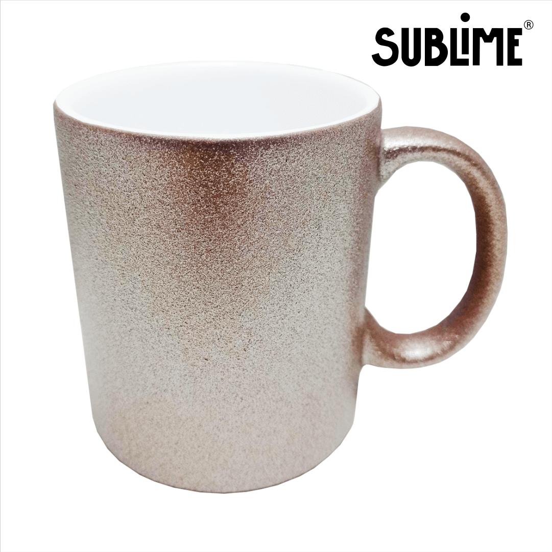 Caneca de Cerâmica com Glitter Para Sublimação - Rose - Sublime - 300ml