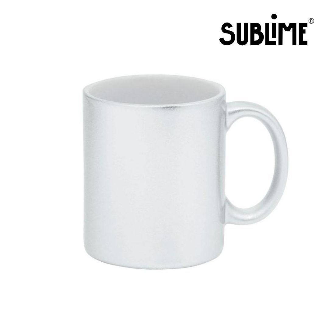 Caneca de Cerâmica Lisa com Glitter Para Sublimação - Branca - Sublime - 300ml