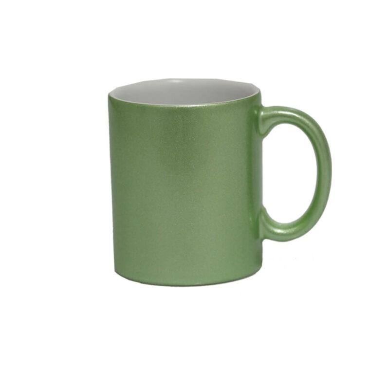 Caneca de Cerâmica Lisa com Glitter Para Sublimação - Verde - Sublime