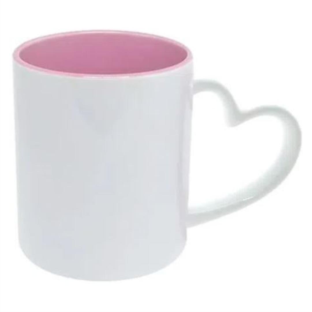 Caneca de Cerâmica p/ Sublimação Branca com Alça Coração c/ Interno Rosa - LiVE SUB - 325ml