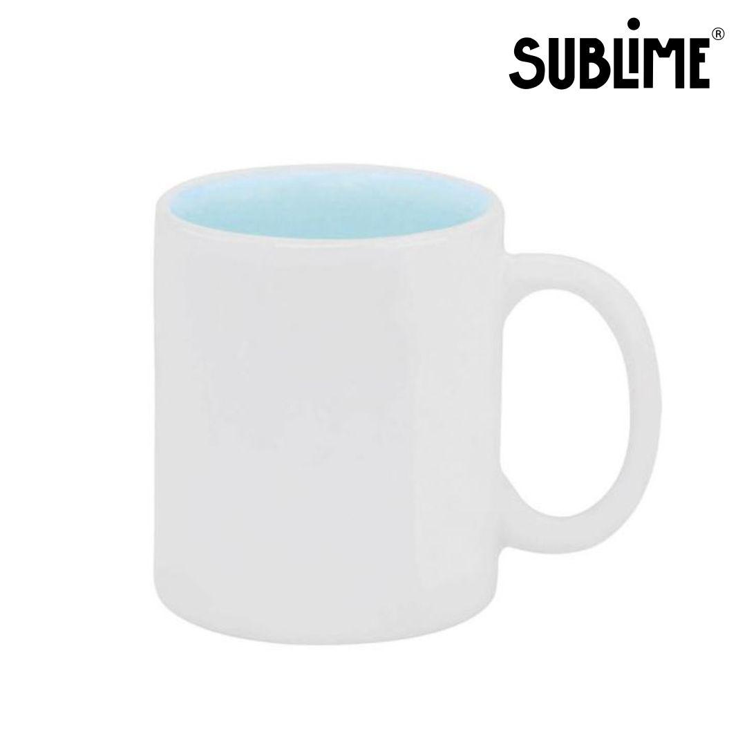 Caneca de Cerâmica para Sublimação Branca com Interno Azul Claro - 300ml - Sublime