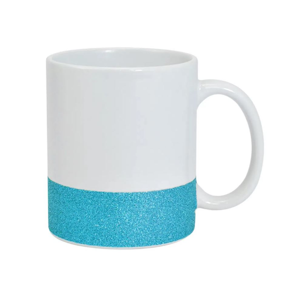 Caneca de Cerâmica Para Sublimação com Base Glitter Texturizada - Azul - Live Sub