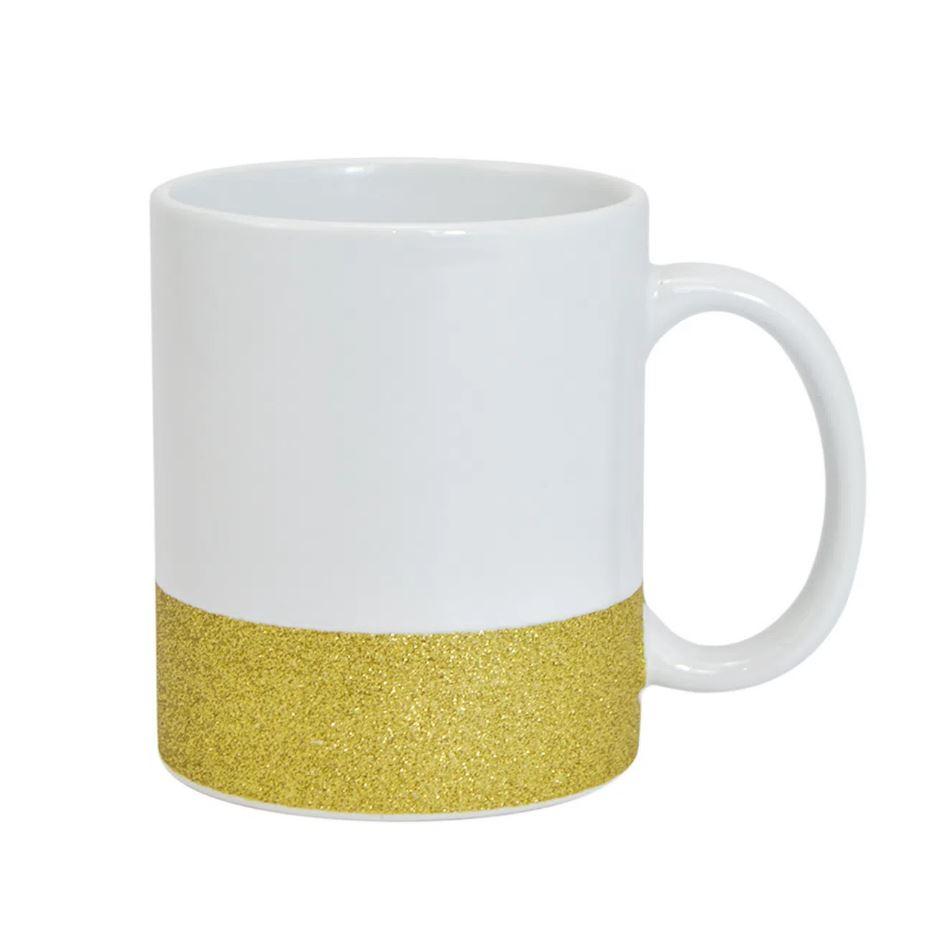Caneca de Cerâmica Para Sublimação com Base Glitter Texturizada - Dourada - Live Sub