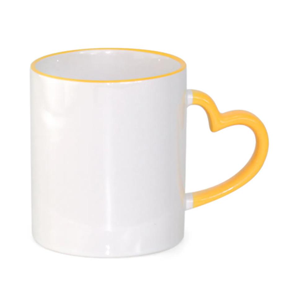 Caneca de Cerâmica Para Sublimação com Borda e Alça de Coração Amarela - 325ml - Live Sub