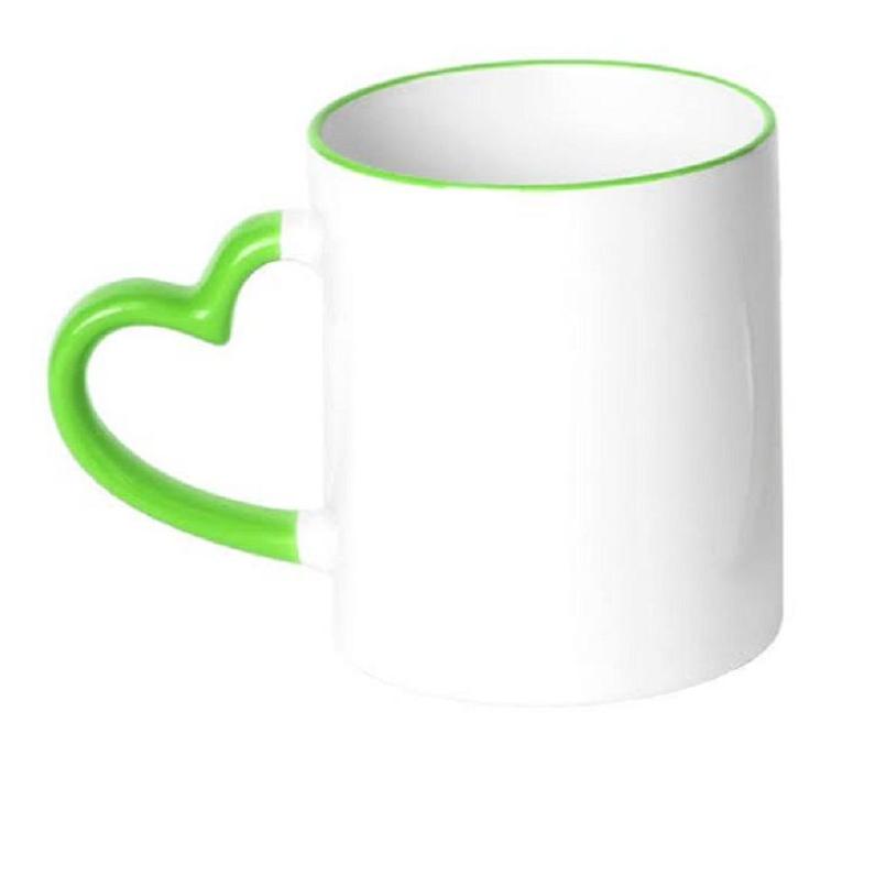 Caneca de Cerâmica Para Sublimação com Borda e Alça de Coração Verde - 325ml - Live Sub