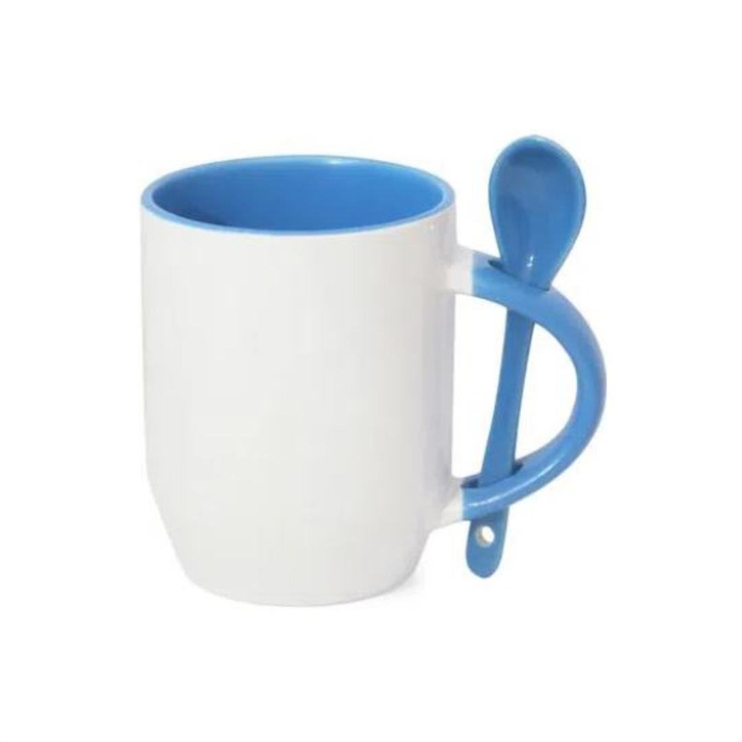 Caneca de Cerâmica Para Sublimação com Interior, Alça e Colher -  Azul - 325ml - LiVE SUB