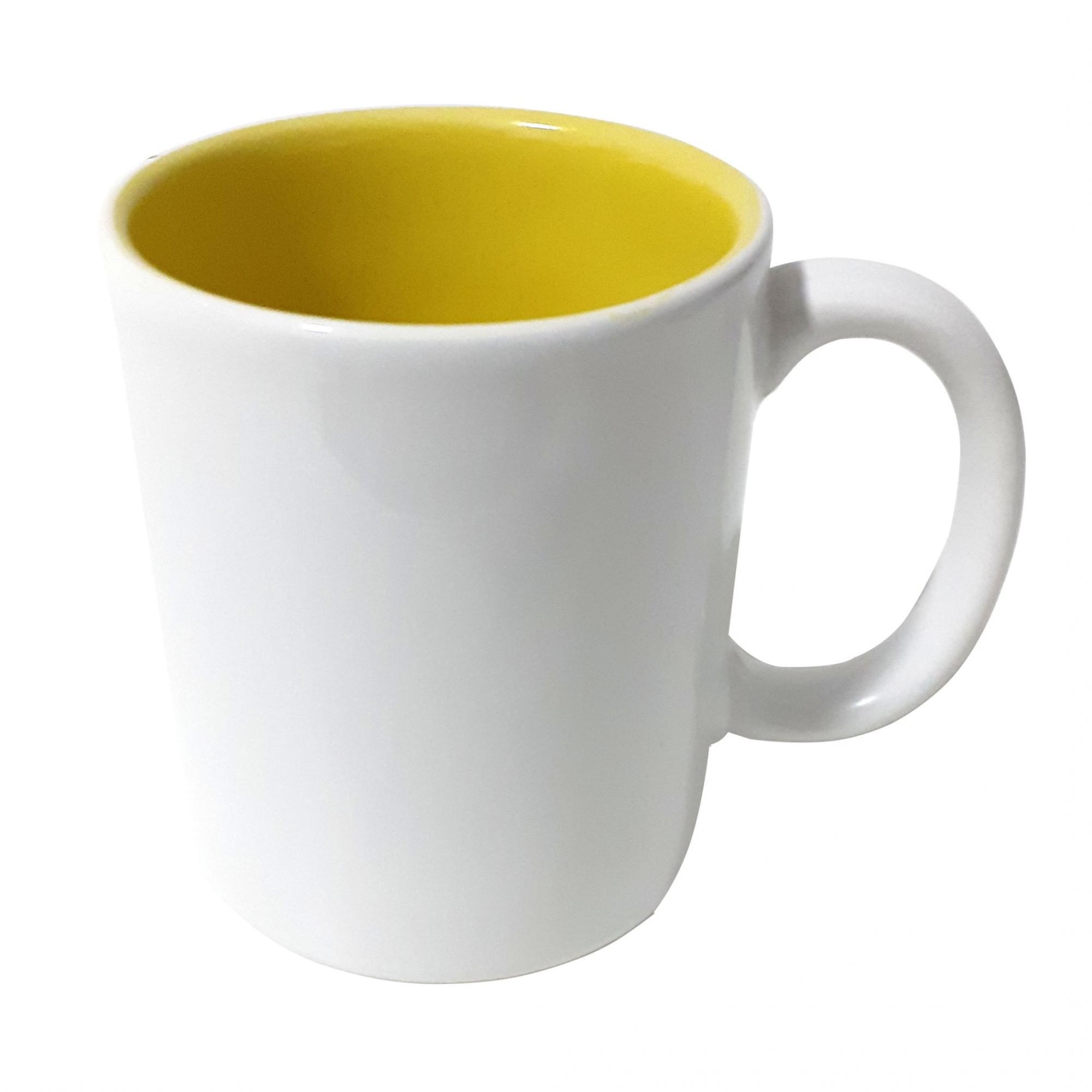 Caneca de Cerâmica Para Sublimação com Interior Amarelo- 300ml - Sublime