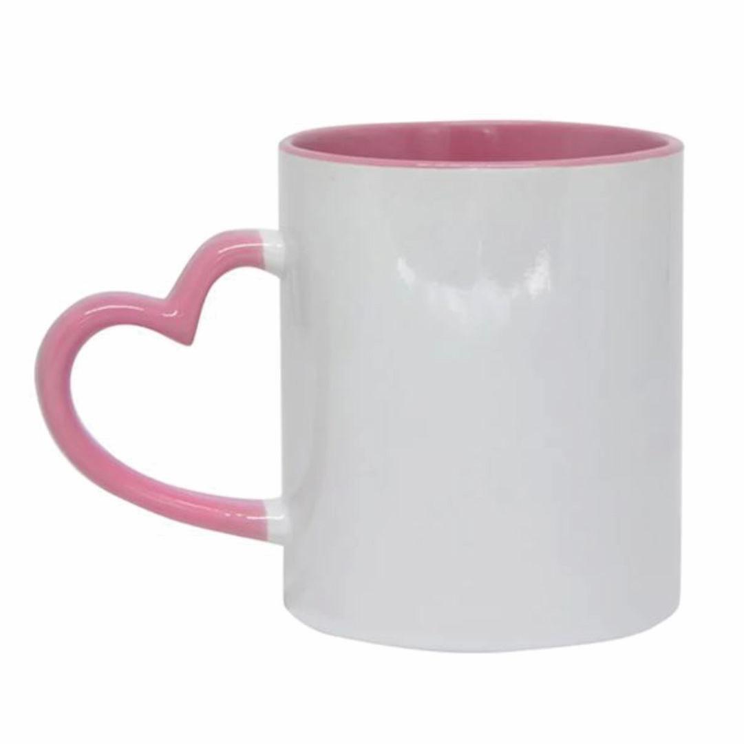 Caneca de Cerâmica Para Sublimação com Interno e Alça de Coração Rosa Claro - 325ml - LiVE SUB