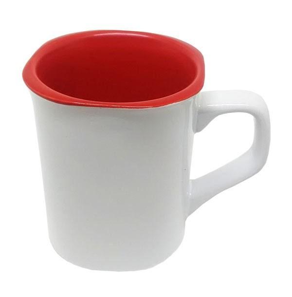 Caneca de Cerâmica para Sublimação - Modelo Nescafé - Interior Vermelho