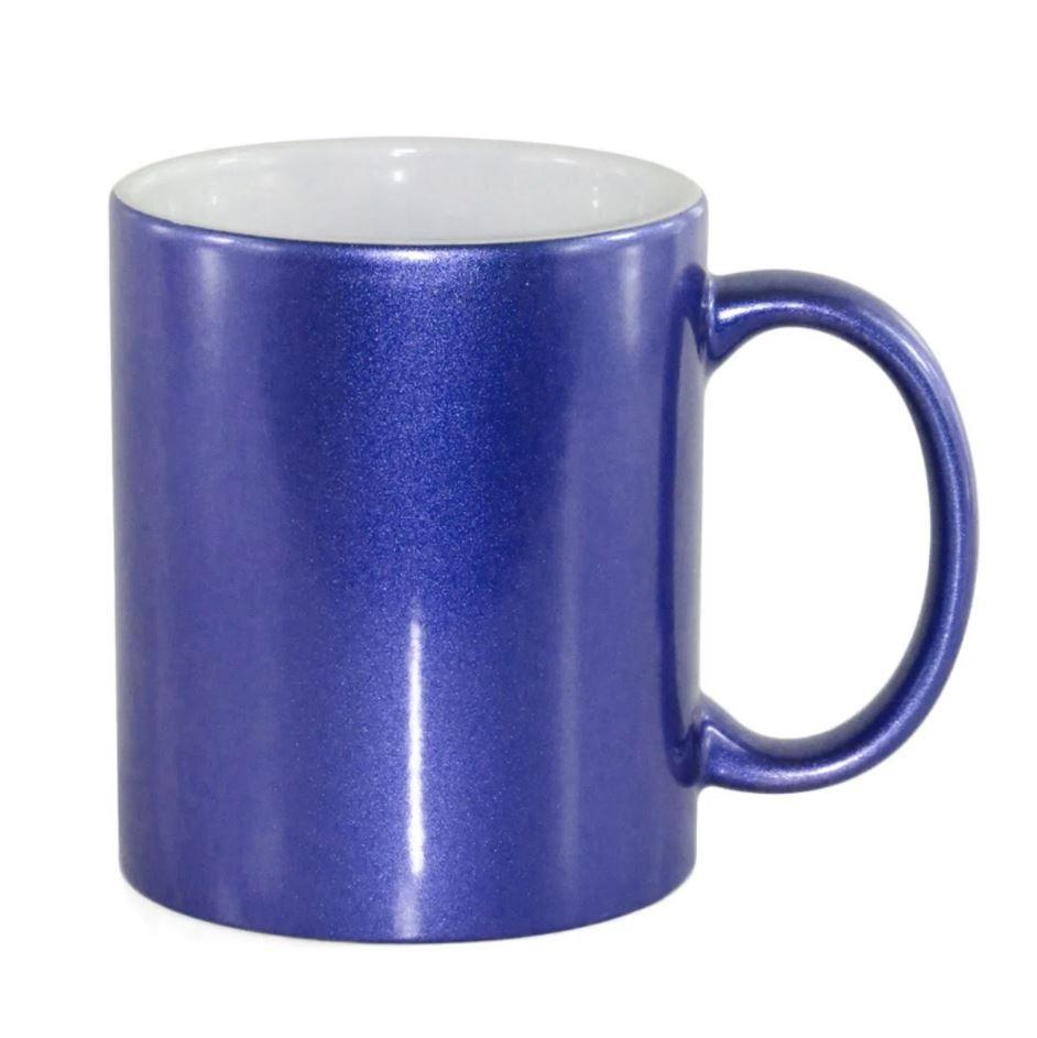 Caneca de Cerâmica Perolada Azul p/ Sublimação - 325ml - Live Sub