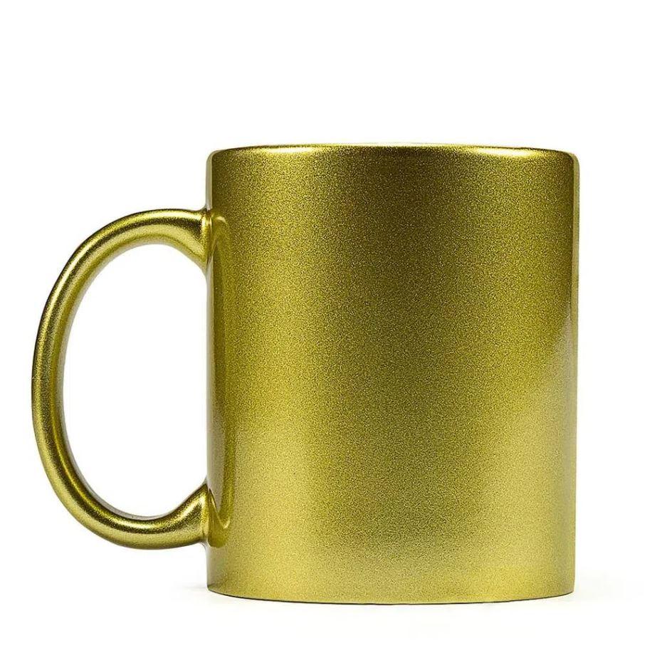 Caneca de Cerâmica Perolada Dourada p/ Sublimação - 325ml - Live Sub