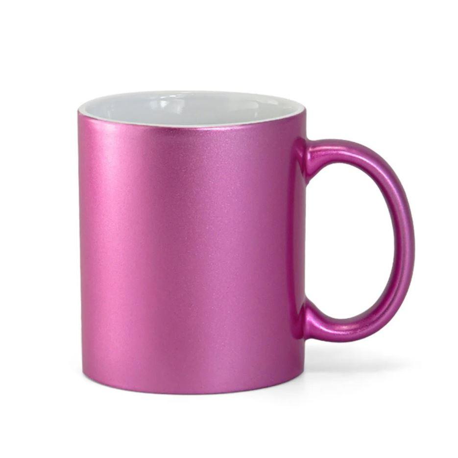 Caneca de Cerâmica Perolada Rosa p/ Sublimação - 325ml - Live Sub