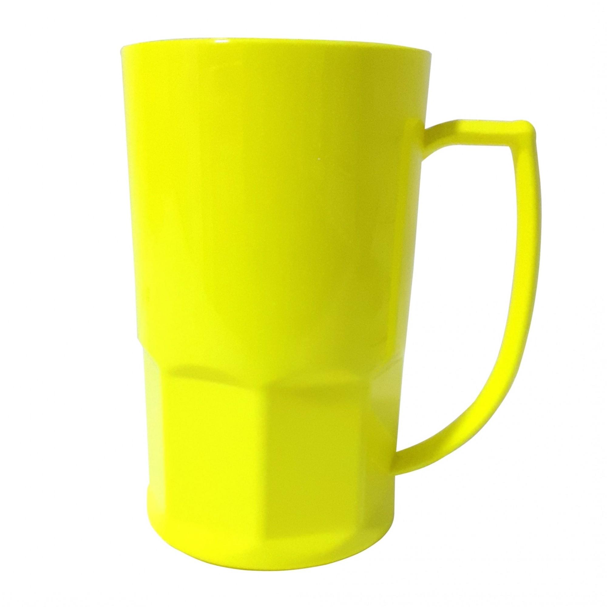 Caneca de Chopp em Polímero Para Sublimação - 500ml - Amarelo Neon