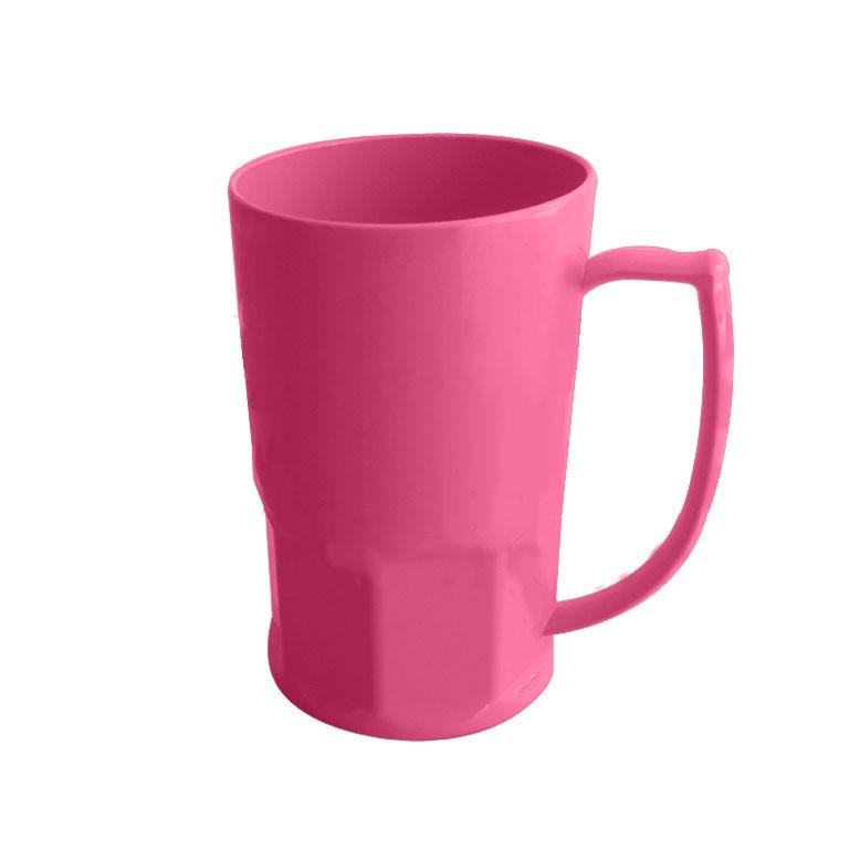 Caneca de Chopp em Polímero Para Sublimação - 500ml - Rosa Claro