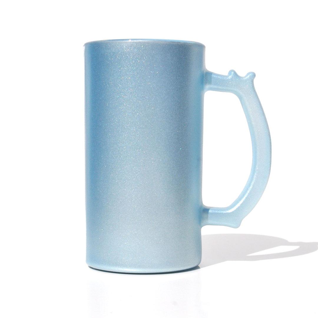 Caneca de Chopp em Vidro Texturizado com Glitter - Azul - Sublime - 475ml