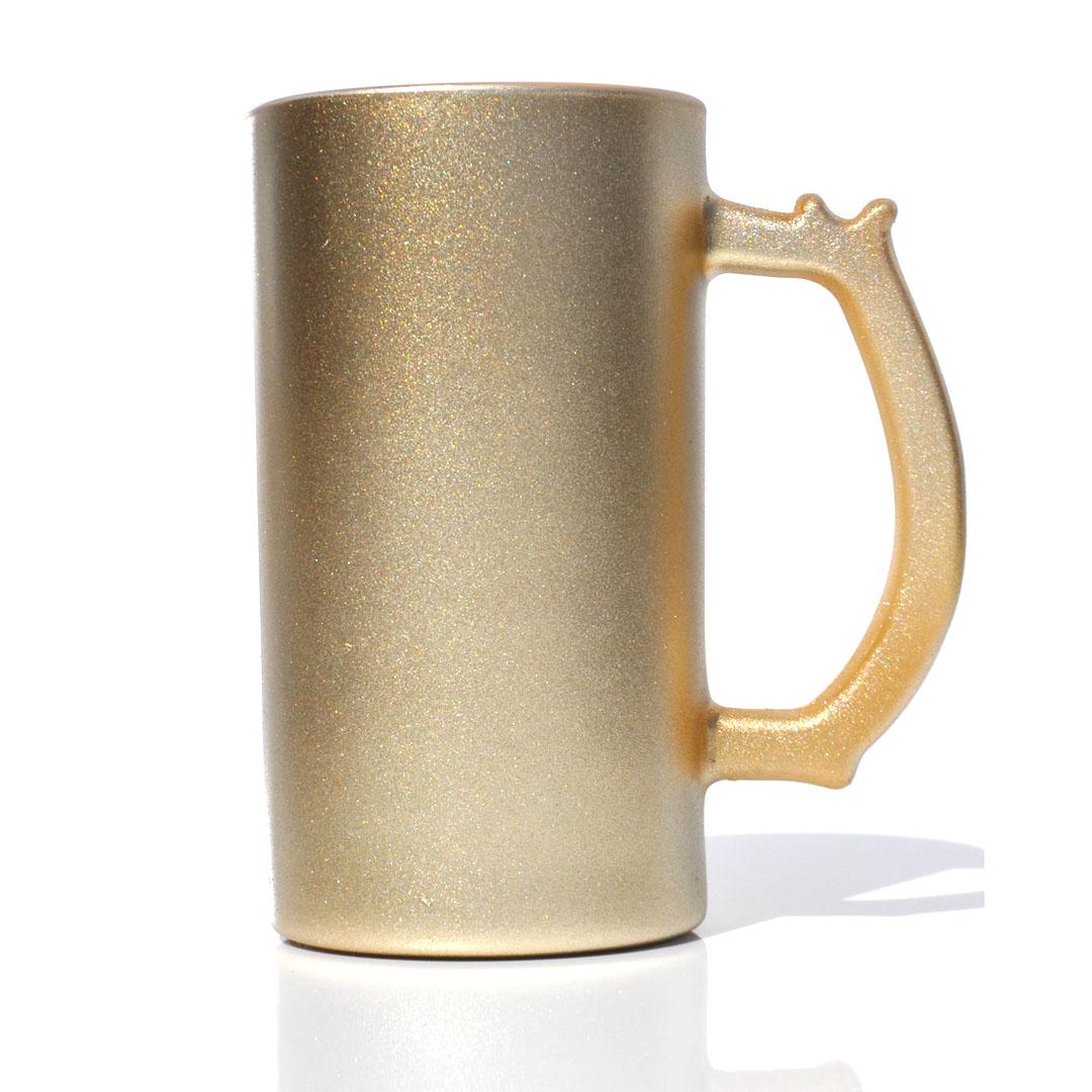 Caneca de Chopp em Vidro Texturizado com Glitter - Dourada - Sublime - 475ml