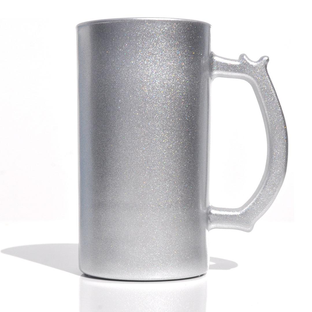 Caneca de Chopp em Vidro Texturizado com Glitter - Prata - Sublime - 475ml