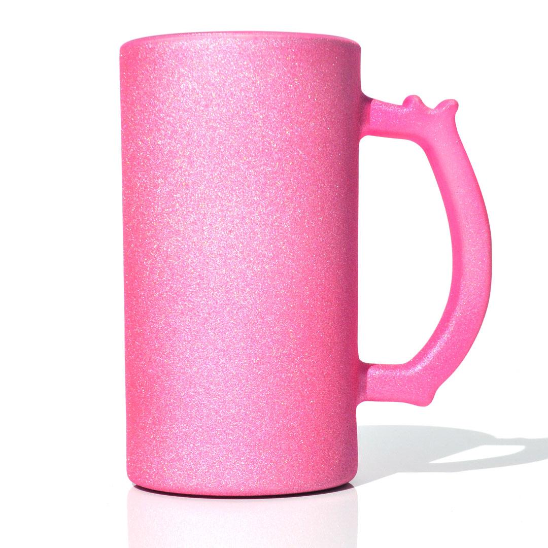 Caneca de Chopp em Vidro Texturizado com Glitter - Rosa - Sublime - 475ml