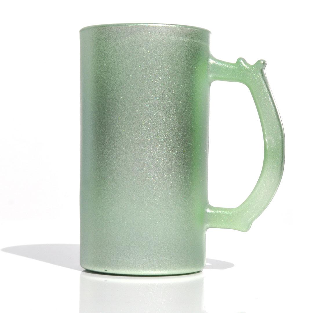 Caneca de Chopp em Vidro Texturizado com Glitter - Verde - Sublime - 475ml