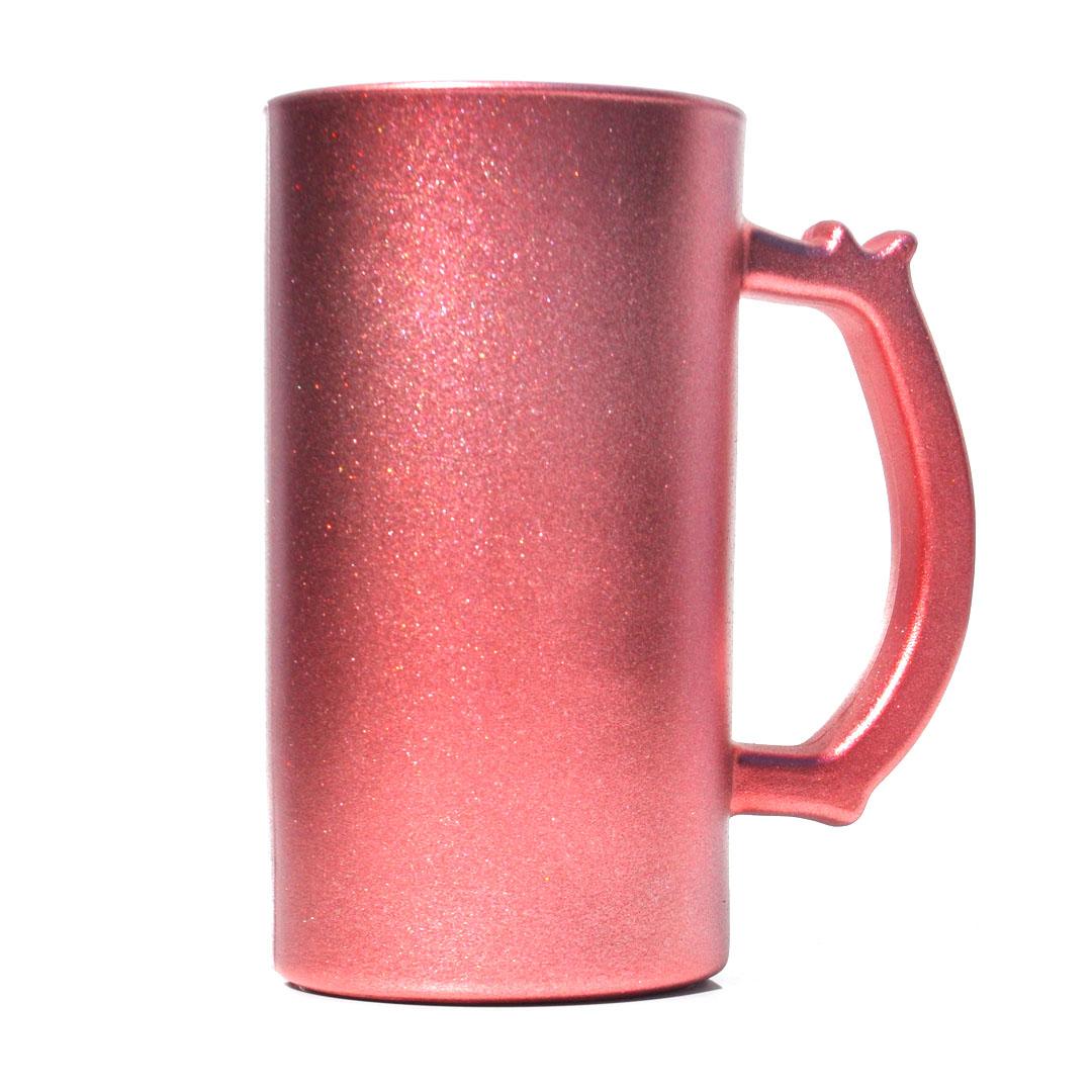 Caneca de Chopp em Vidro Texturizado com Glitter - Vermelha - Sublime - 475ml