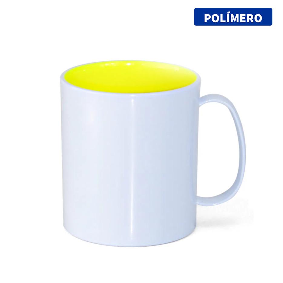 Caneca de Polímero Para Sublimação com Interior Amarelo Limão - 325ml