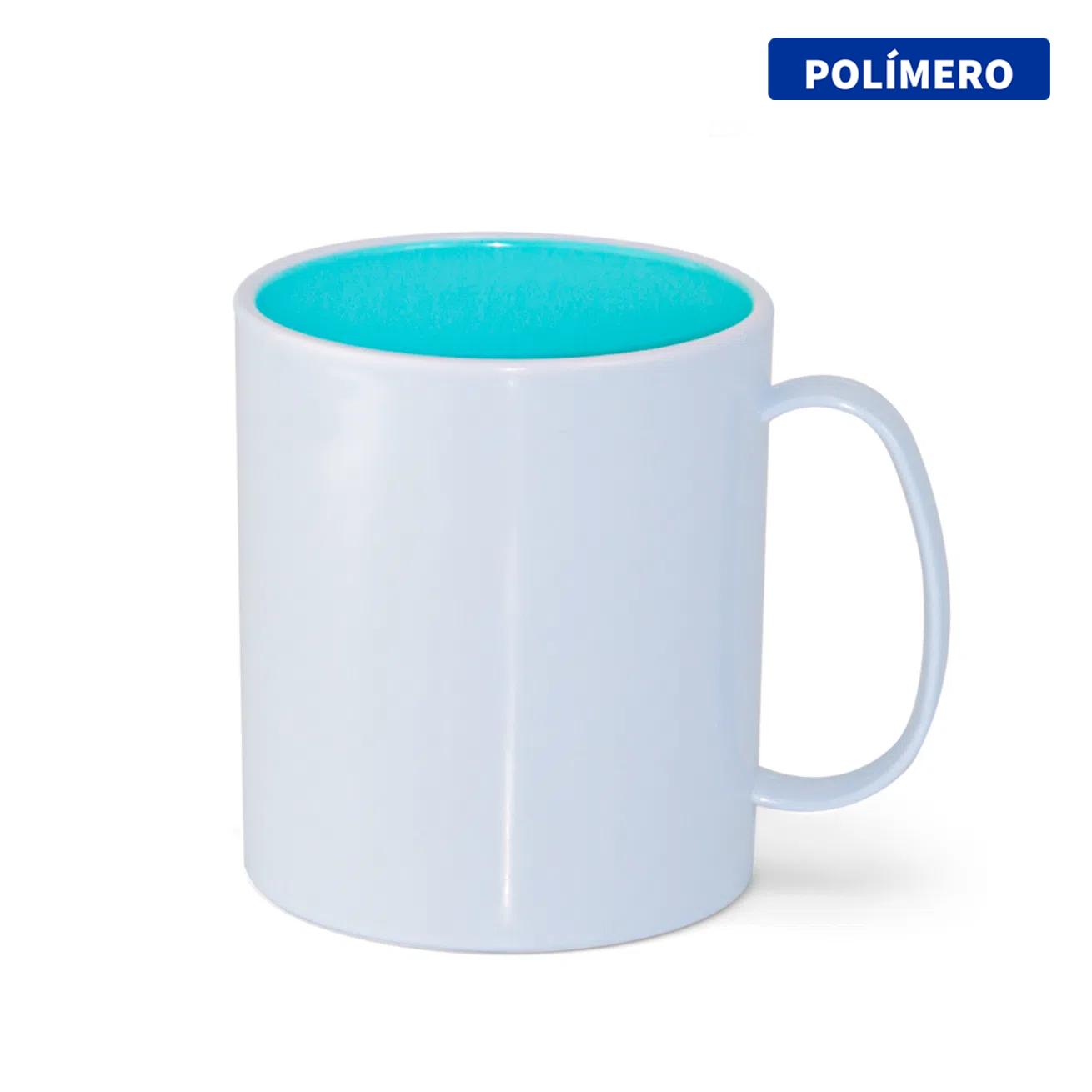 Caneca de Polímero Para Sublimação com Interior Azul Bebê - 325ml