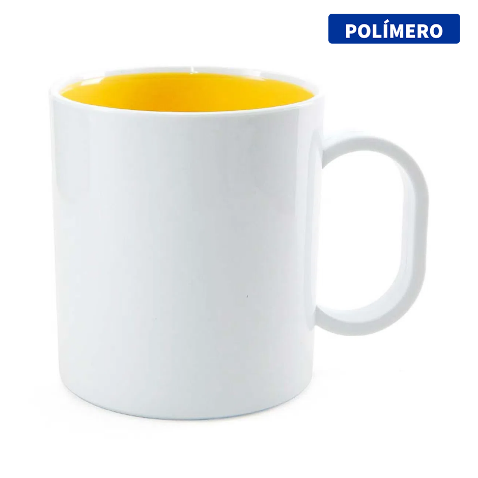 Caneca de Polímero Para Sublimação com Interior Amarelo - 325ml