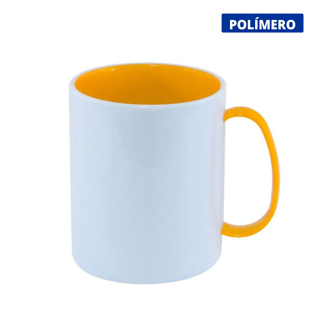 Caneca de Polímero Para Sublimação com Interior e Alça Amarela