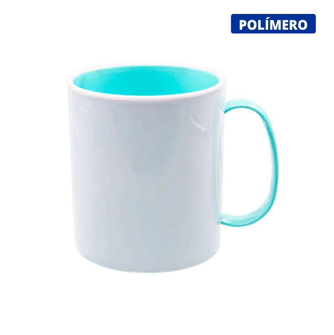 Caneca de Polímero Para Sublimação com Interior e Alça Azul Bebê