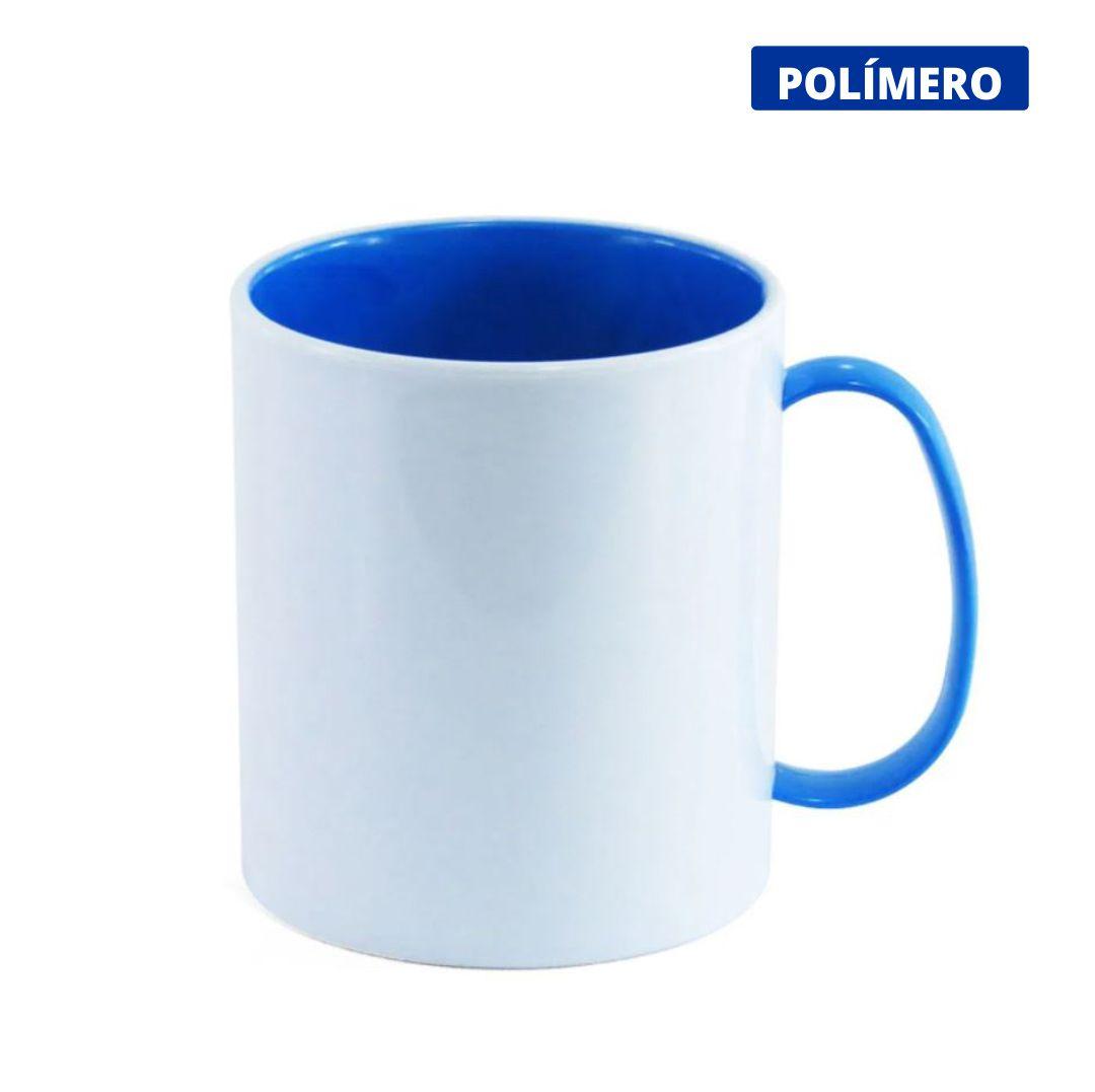 Caneca de Polímero Para Sublimação com Interior e Alça Azul Royal