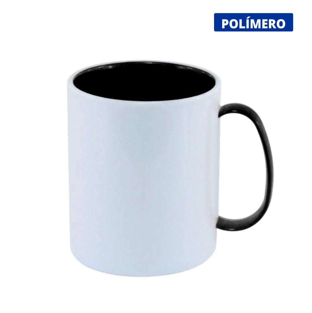 Caneca de Polímero Para Sublimação com Interior e Alça Preta