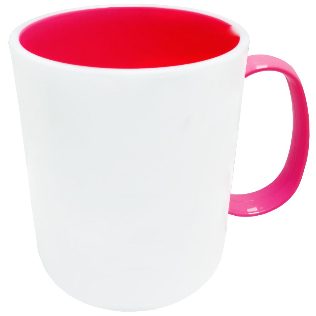 Caneca de Polímero Para Sublimação com Interior e Alça Rosa Pink - 325ml