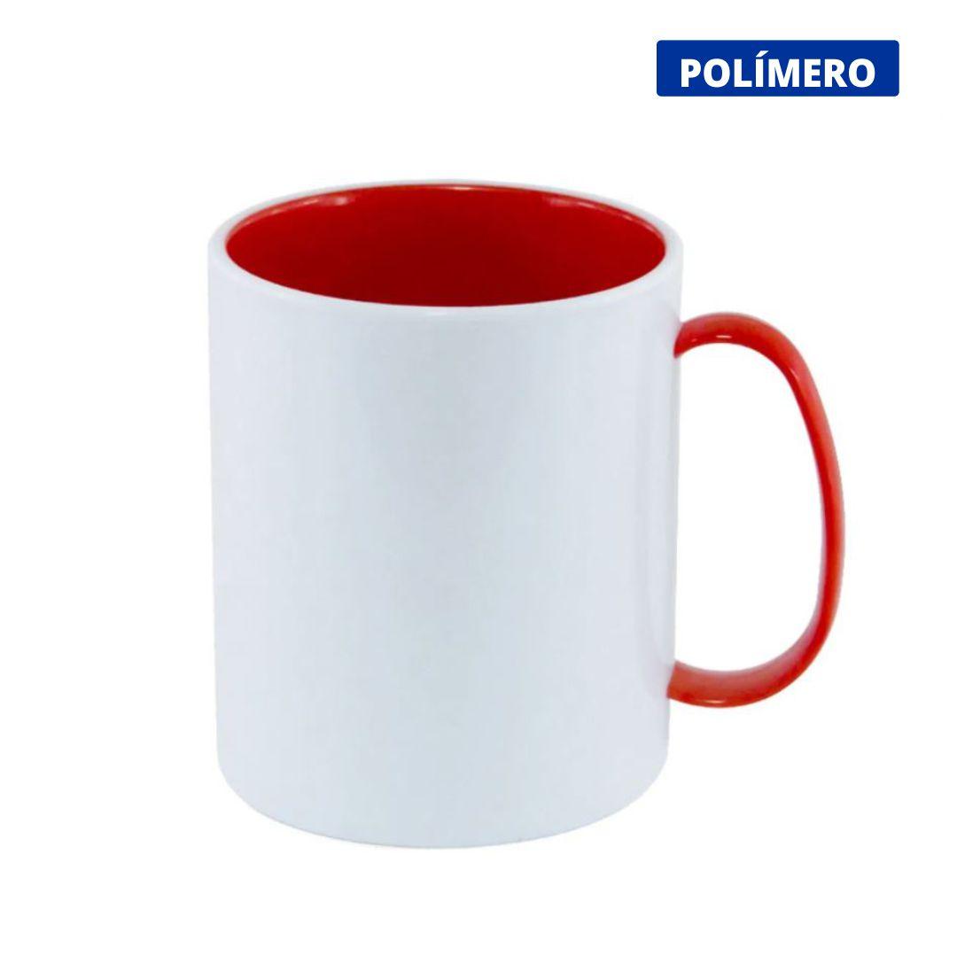 Caneca de Polímero Para Sublimação com Interior e Alça Vermelha