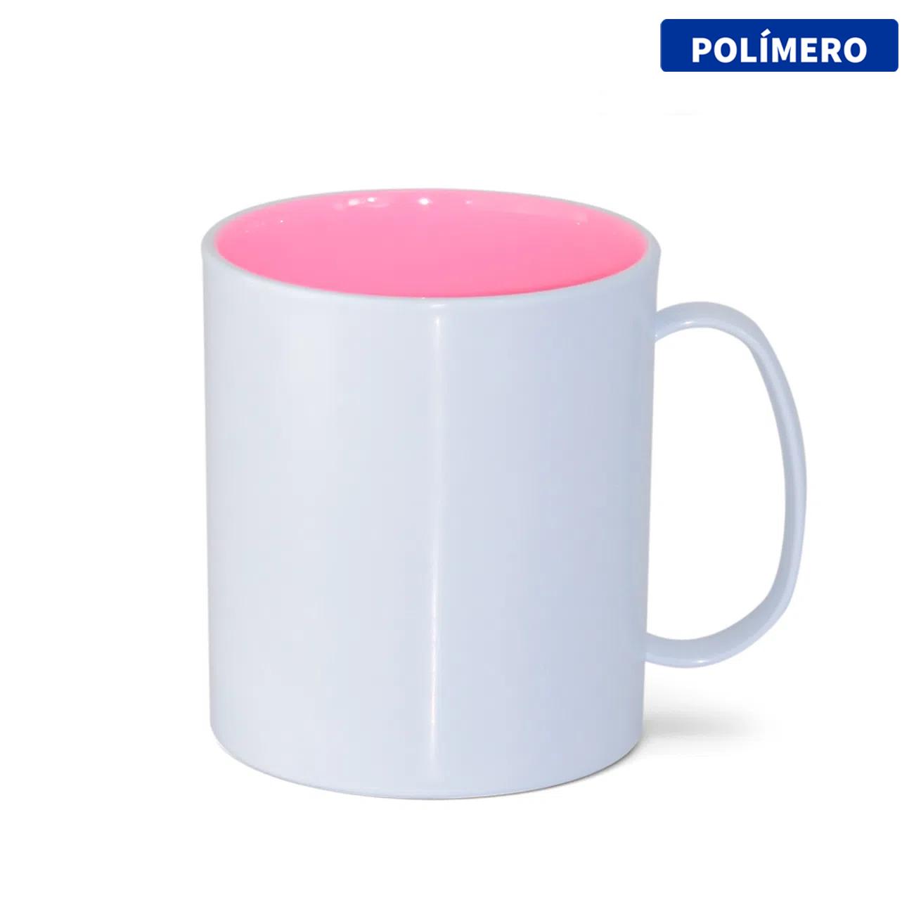 Caneca de Polímero Para Sublimação com Interior Rosa Bebê - 325ml